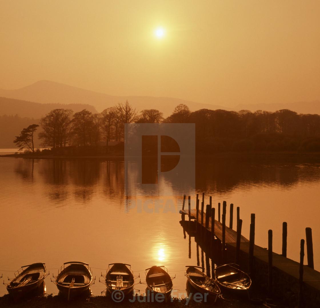 """""""Misty sunset, Derwentwater"""" stock image"""