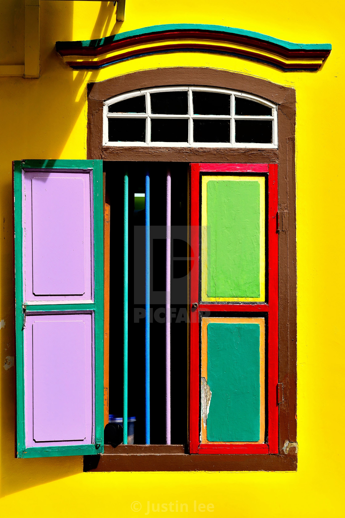 """Window with colourful shutters"" stock image"