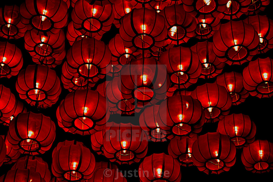 """A cluster of red Chinese lanterns celebrating Lunar New Year"" stock image"