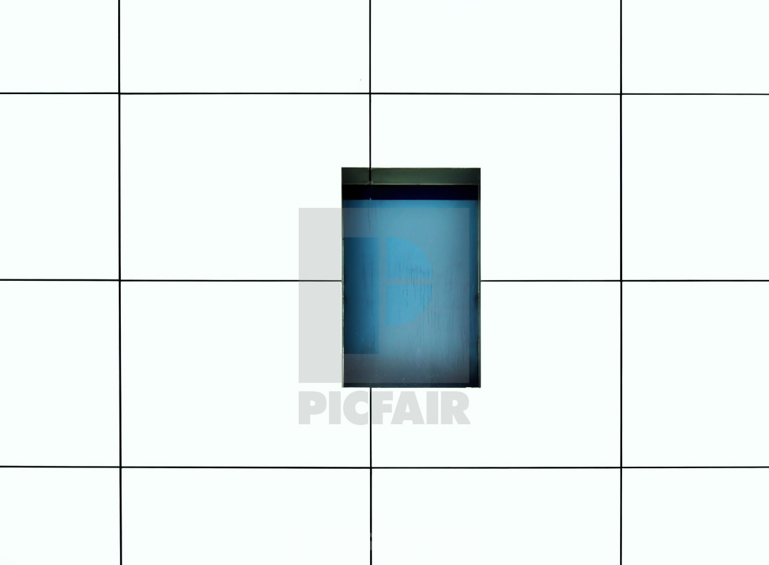 """Window on minimalist geometric exterior"" stock image"