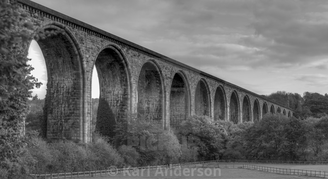 """The railway viaduct at Chirk"" stock image"