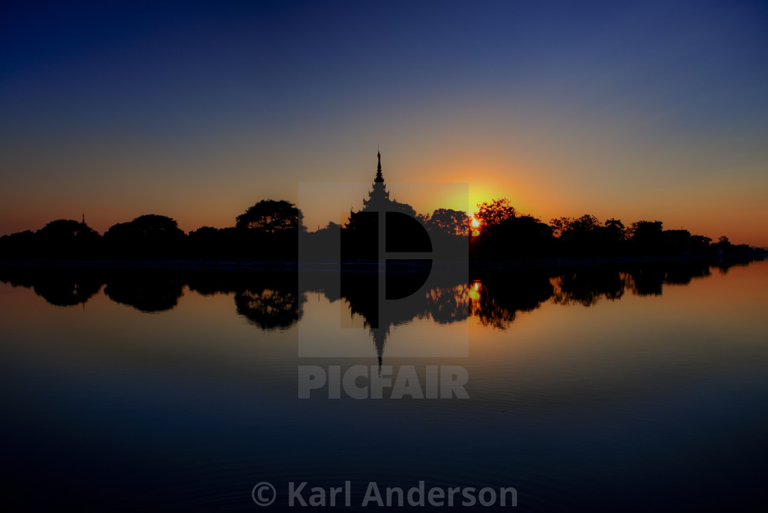 """Mandalay Palace Sunset"" stock image"