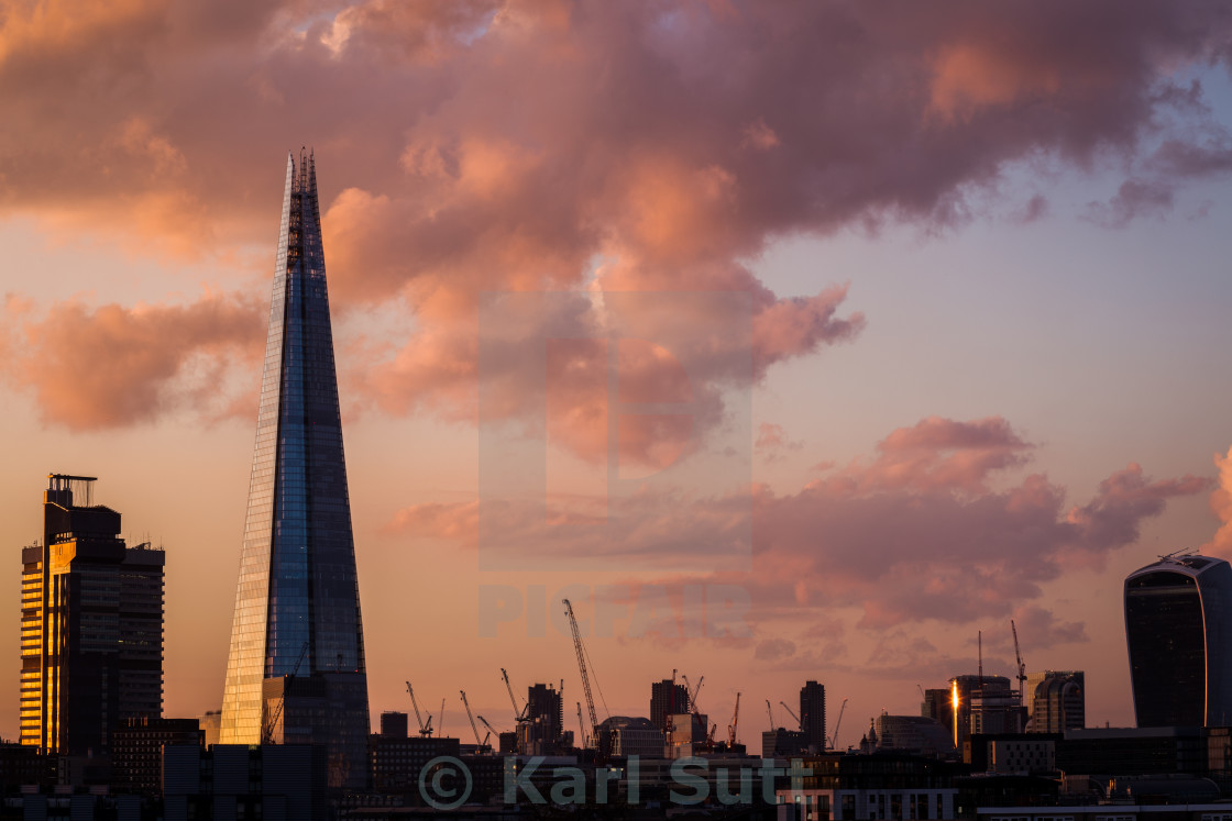 """The Shard at sunset"" stock image"