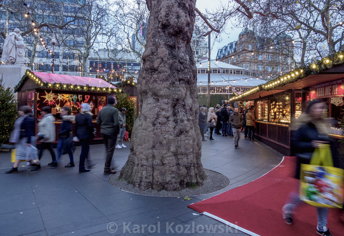 United Kingdom Christmas.Christmas Market On Leicester Square London England