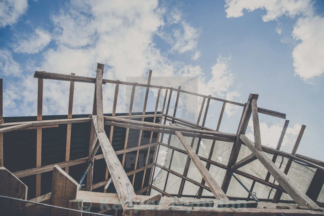 """""""Roof improvement with structure made of wood"""" stock image"""