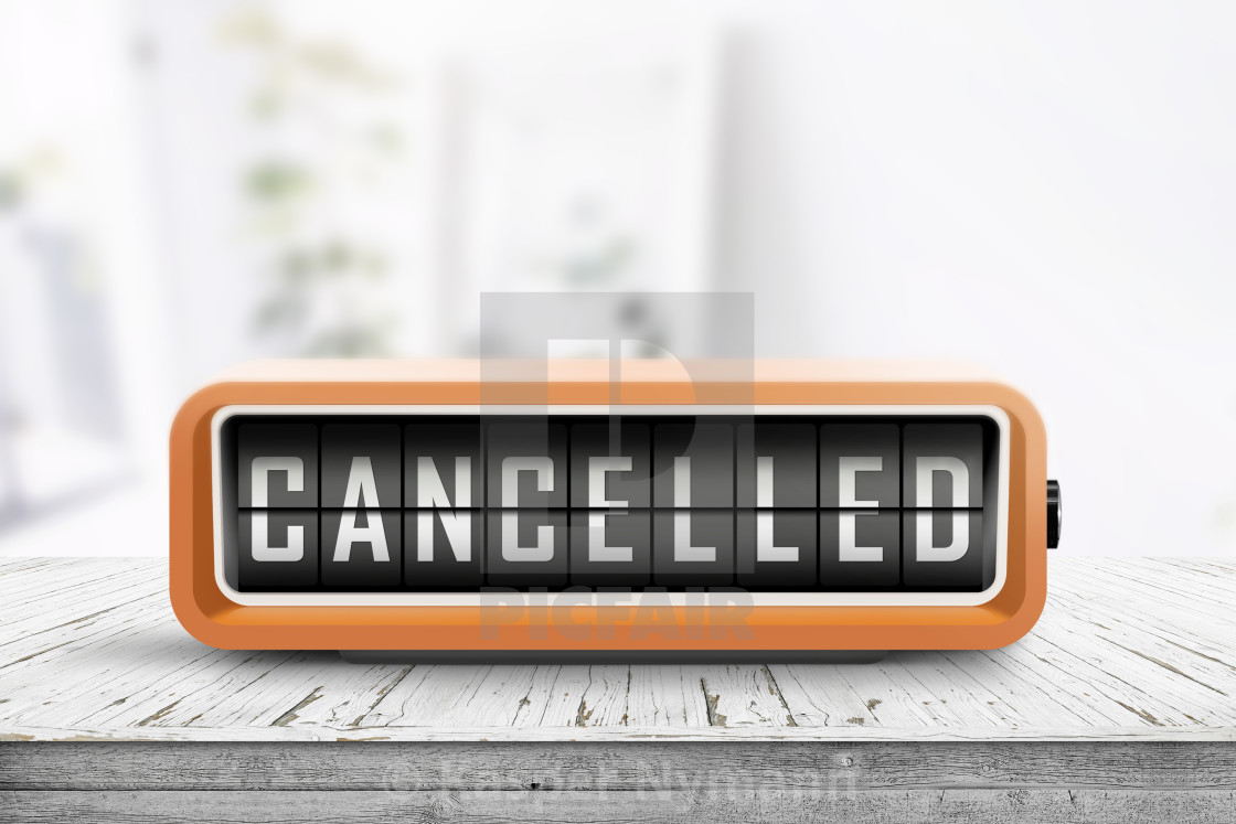 """""""Cancelled message on a retro alarm clock"""" stock image"""