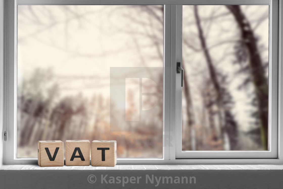 """""""VAT sign on a window sill in the morning sunrise"""" stock image"""