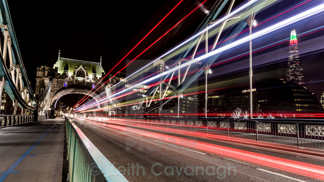 """Tower Bridge Traffic Trails"" stock image"