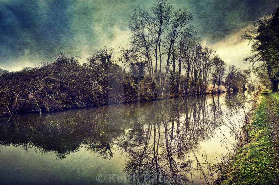 """""""Canalside Reflections #1- Milton Lilbourne, Wiltshire"""" stock image"""