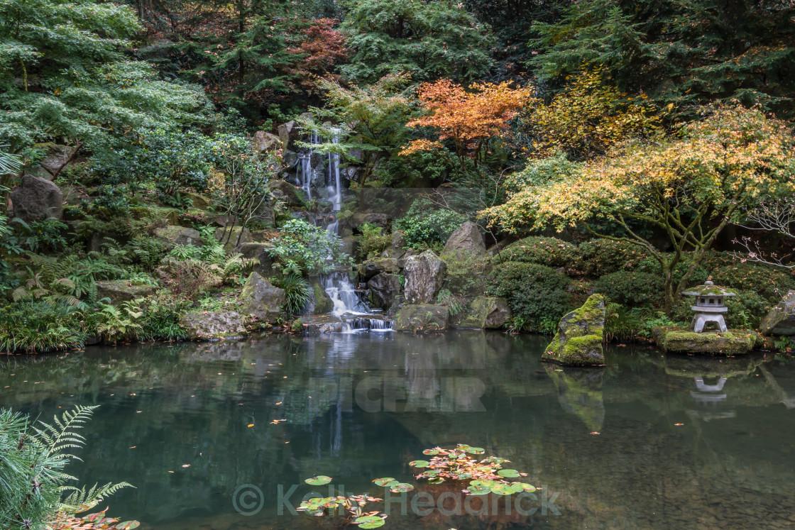"""Japanese Garden waterfall"" stock image"