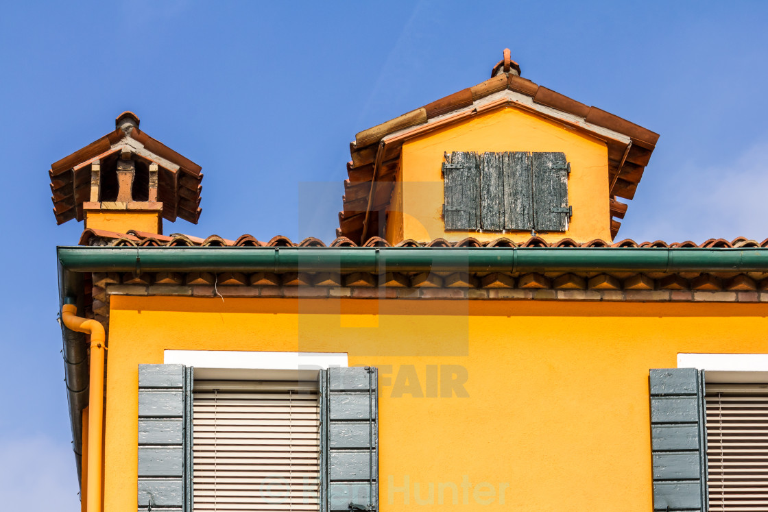 """Tile roof and window shutters Burano, Venice"" stock image"