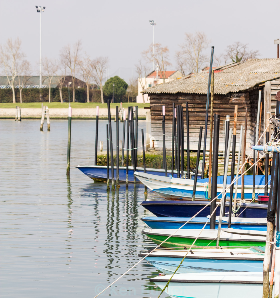 """Small boats moored at Burano, Venice"" stock image"