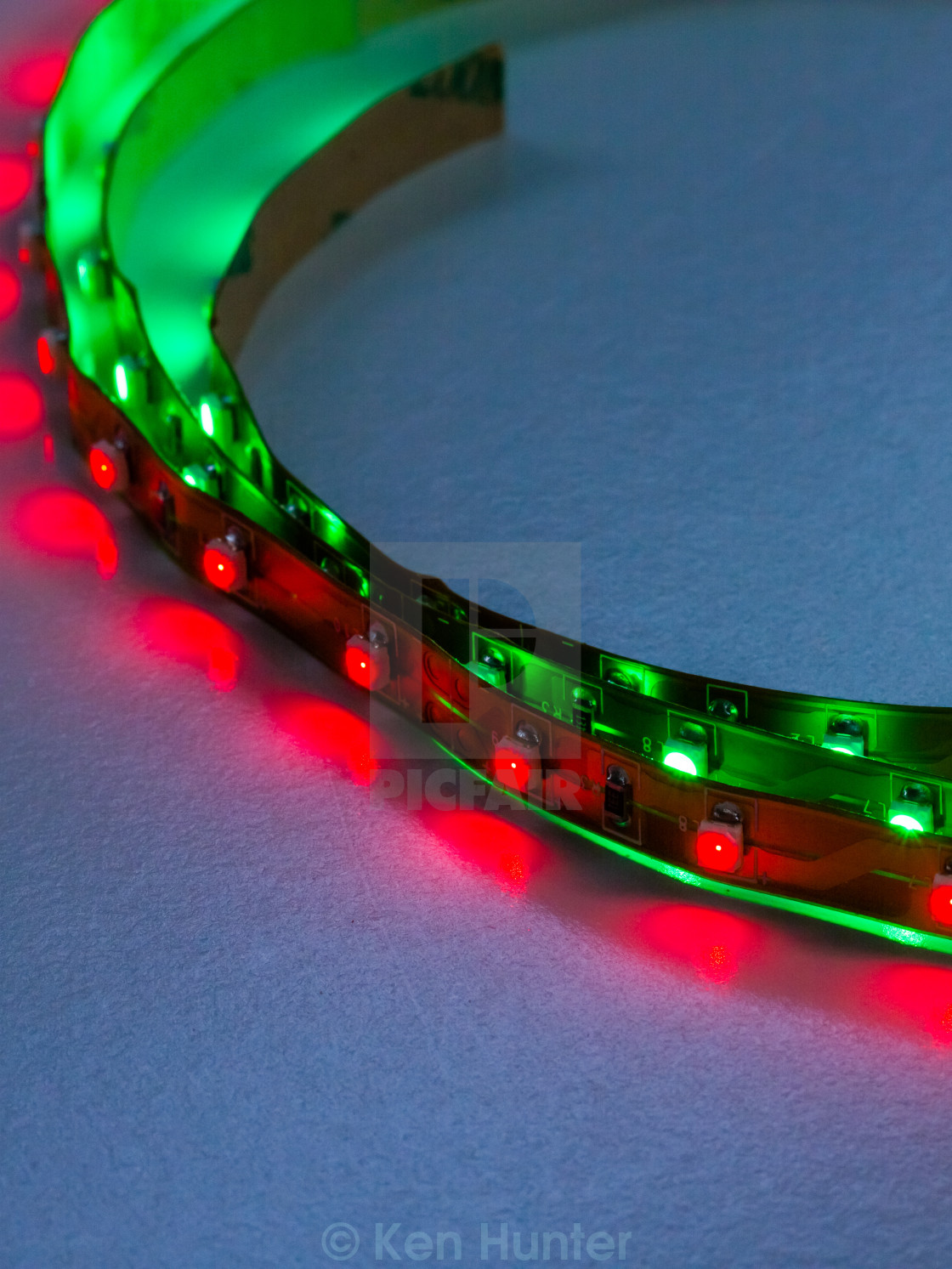 """Close up of high intesity LED lighting strips"" stock image"