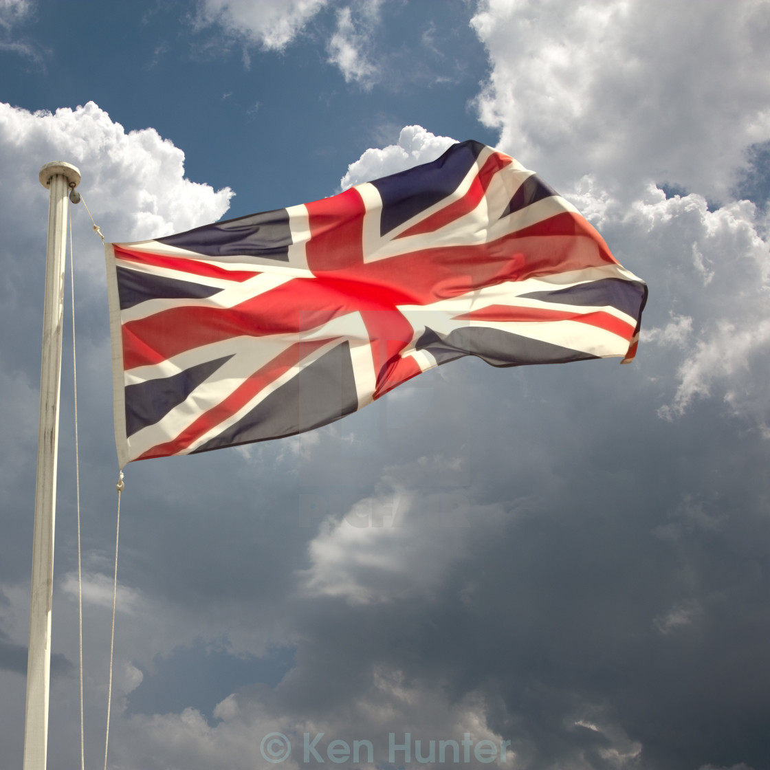 """Union Jack on flagpole"" stock image"