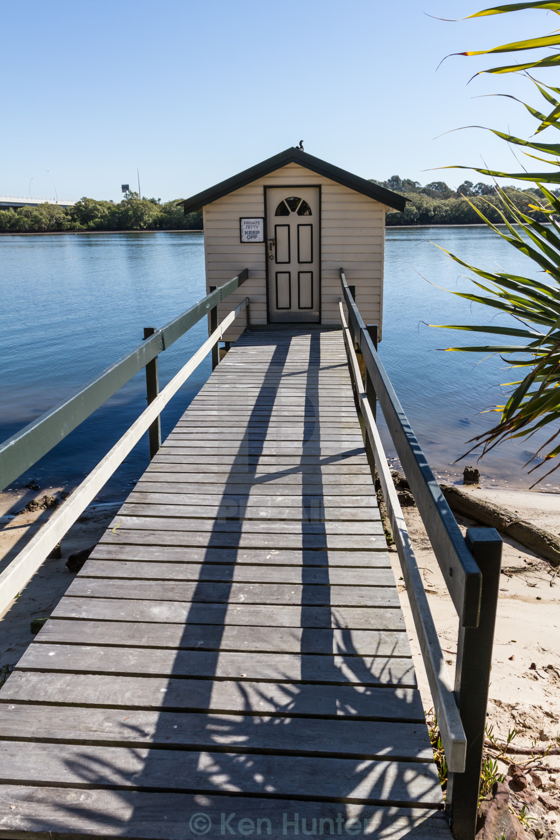 """Fishing cabin on Jetty"" stock image"