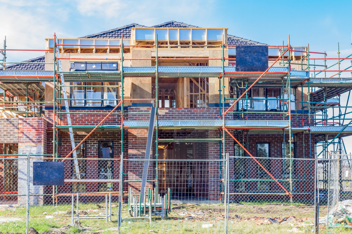 """Modern home under construction"" stock image"