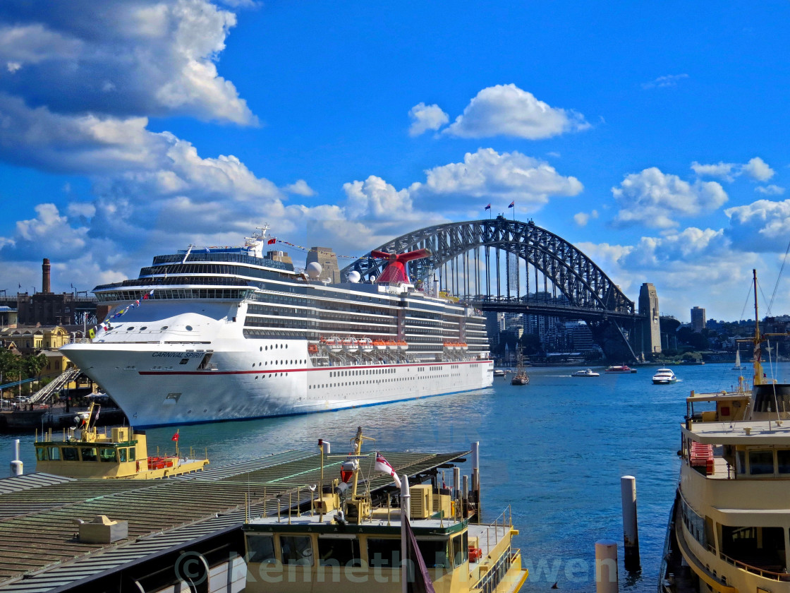 """Sydney Cruise Ship and Sydney Harbour Bridge"" stock image"