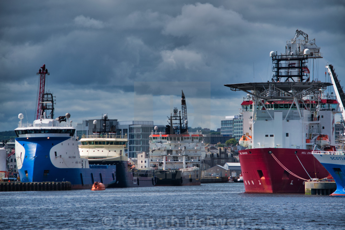 """Oil supply vessels in Aberdeen Harbour"" stock image"