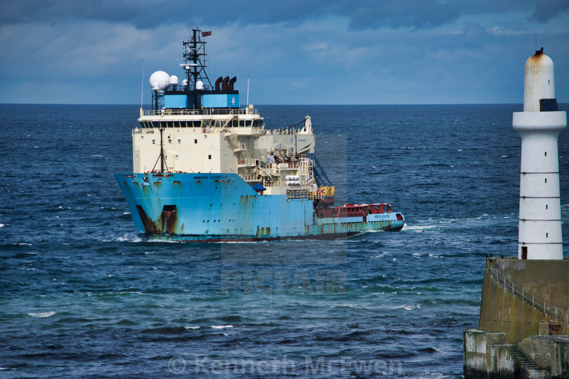 """Oil Supply vessel enters Aberdeen Harbour"" stock image"