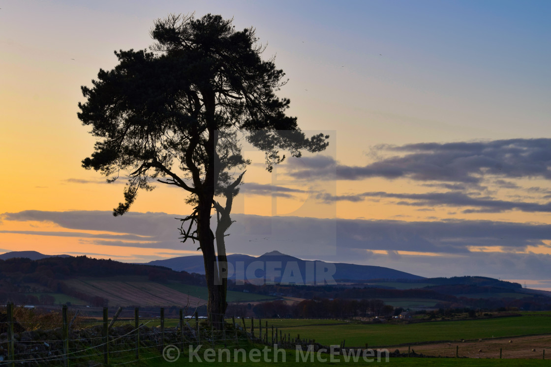 """Sunset over Bennachie"" stock image"