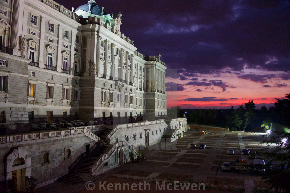 """Royal Palace of Madrid at Night"" stock image"