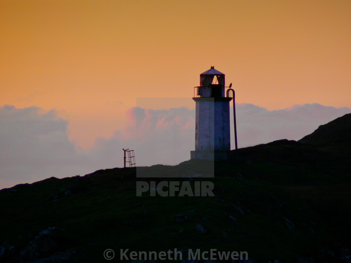 """Leverburgh Harbour light"" stock image"