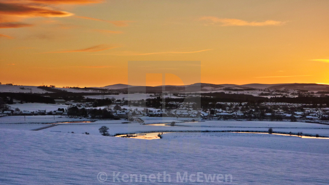 """Winter sunset over Kintore"" stock image"