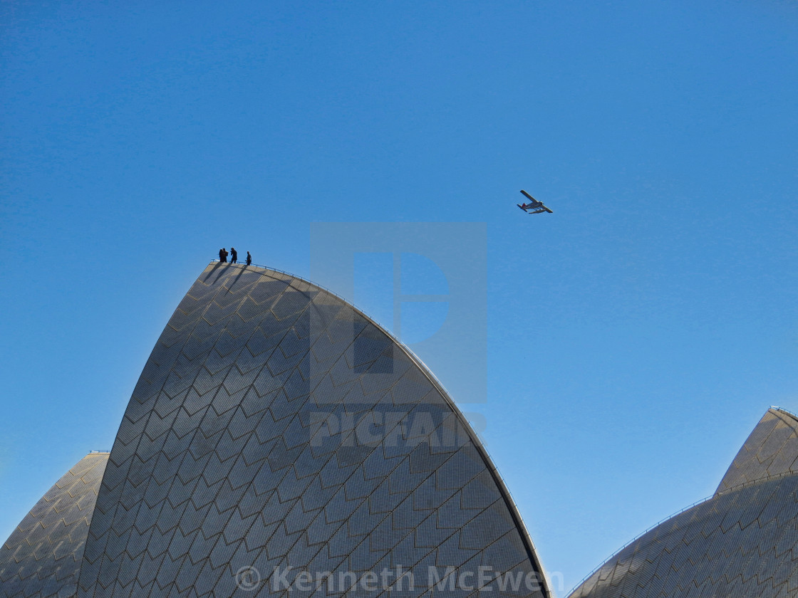 """Sydney Opera House with sea plane"" stock image"