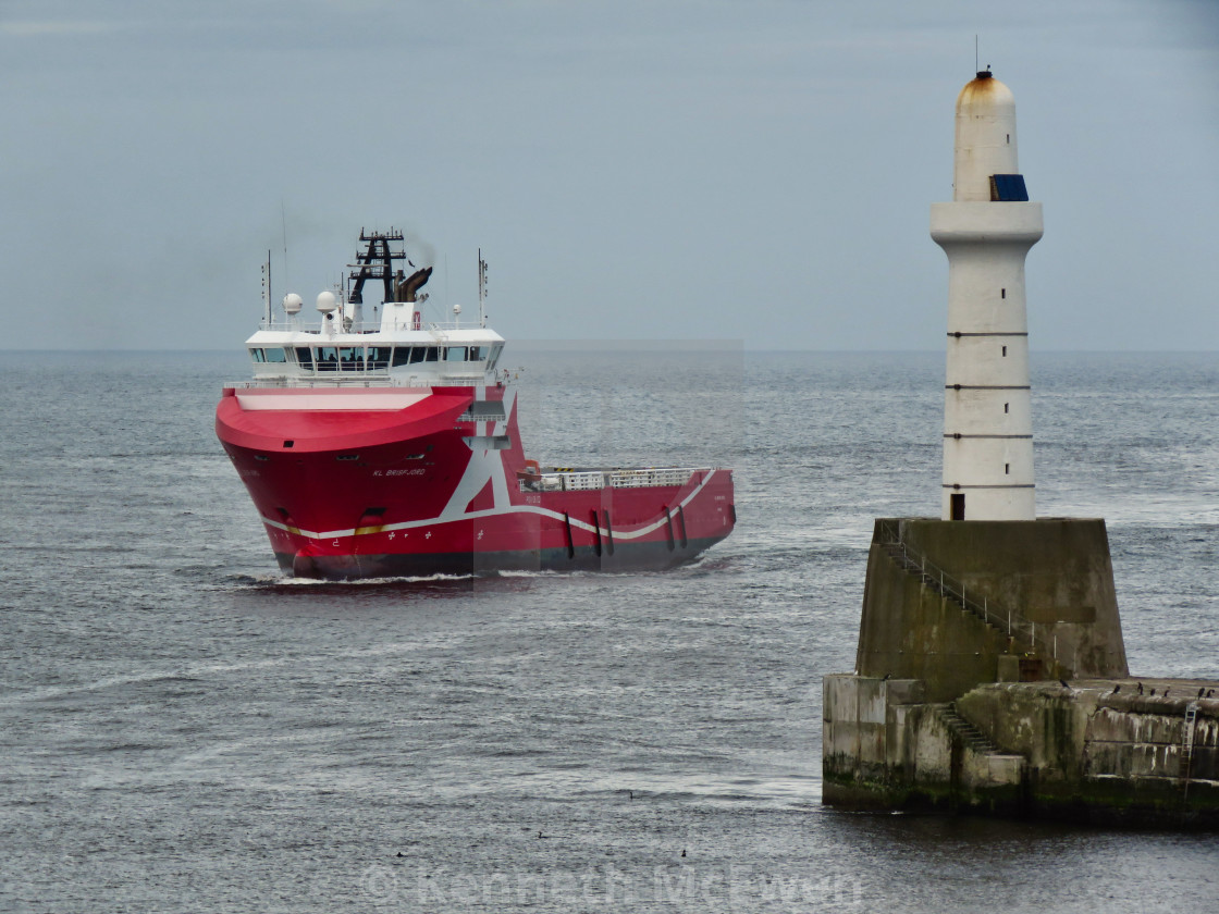 """Oil supply vessel Aberdeen Harbour"" stock image"