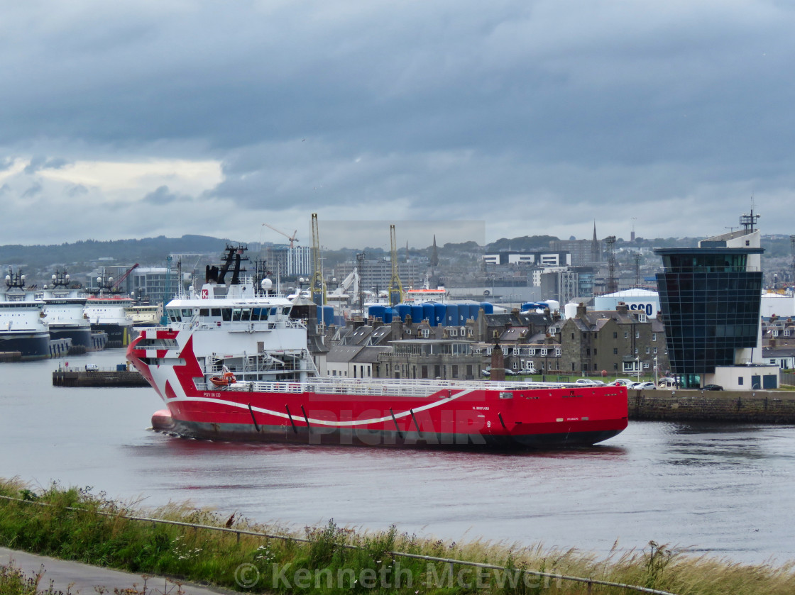 """Offshore supply vessel entering Aberdeen Harbour"" stock image"