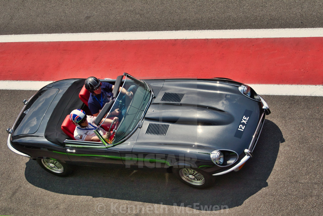 """Jaguar E-type at the Spa Classic"" stock image"