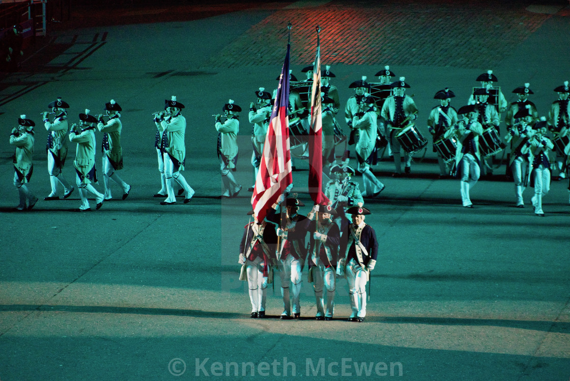 """American Fifes and Drums Volunteers at the Royal Edinburgh Military Tattoo"" stock image"