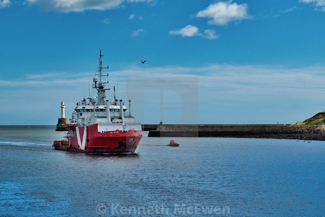"""""""Safety vessel enters Aberdeen Harbour"""" stock image"""