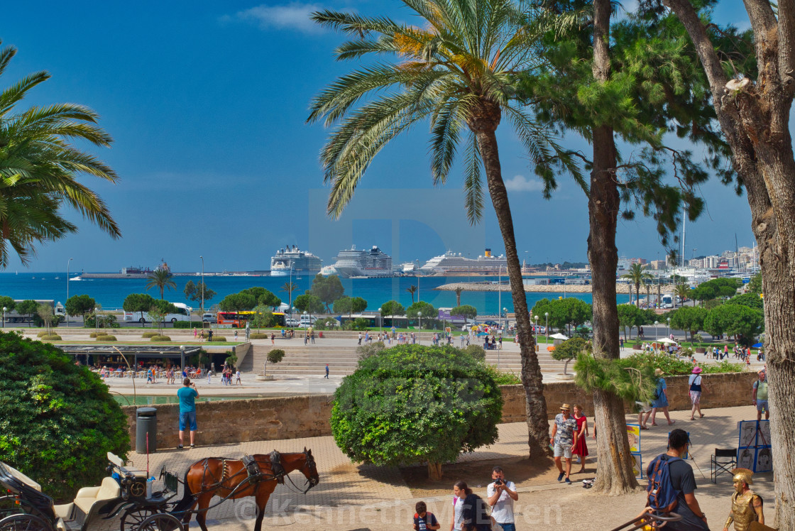 """Palma de Mallorca with cruise ships"" stock image"