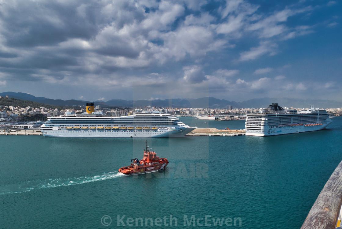"""Cruise ships in port at Palma de Mallorca"" stock image"