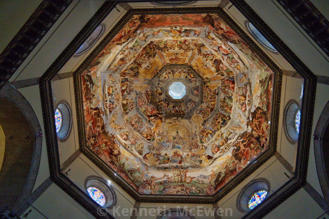 """""""Intricate painting inside Santa Maria del Fiore, Florence"""" stock image"""