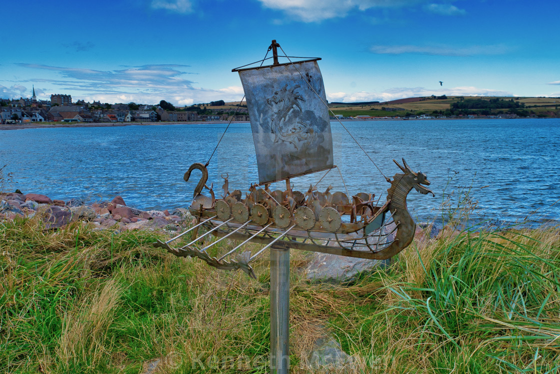 """Viking longboat sculpture"" stock image"