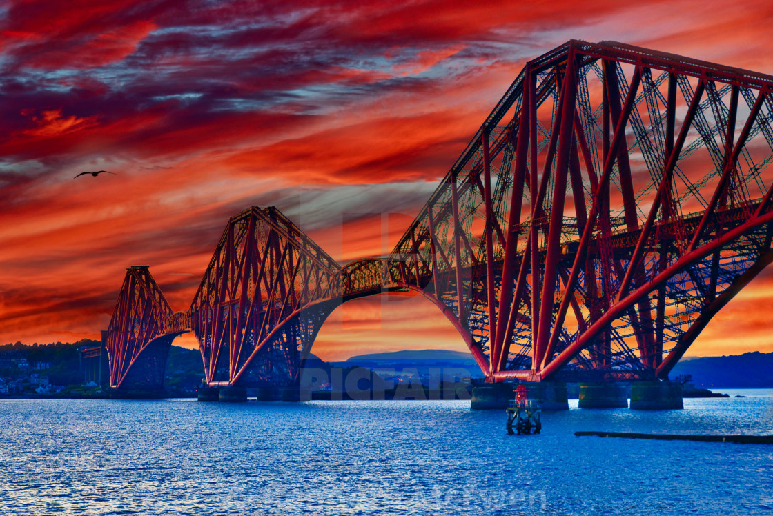 """""""A vivid sunset over the Forth Bridge"""" stock image"""