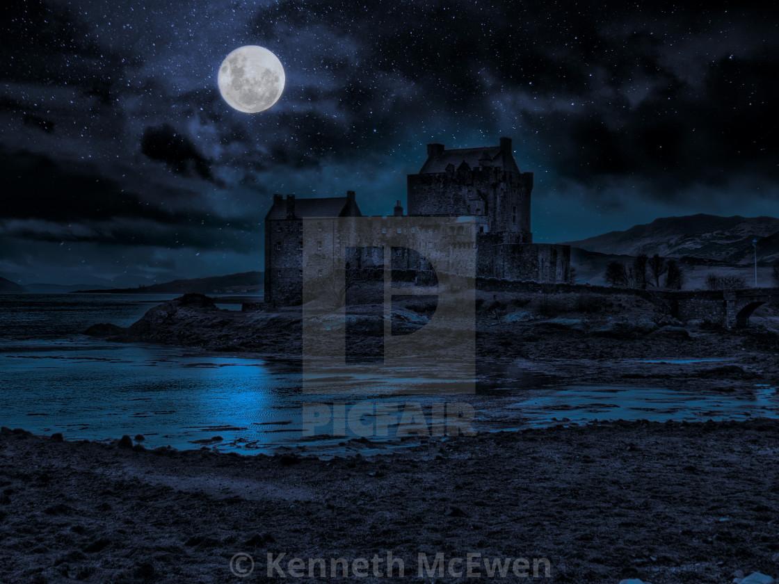 """Moon over Eilean Donan Castle"" stock image"