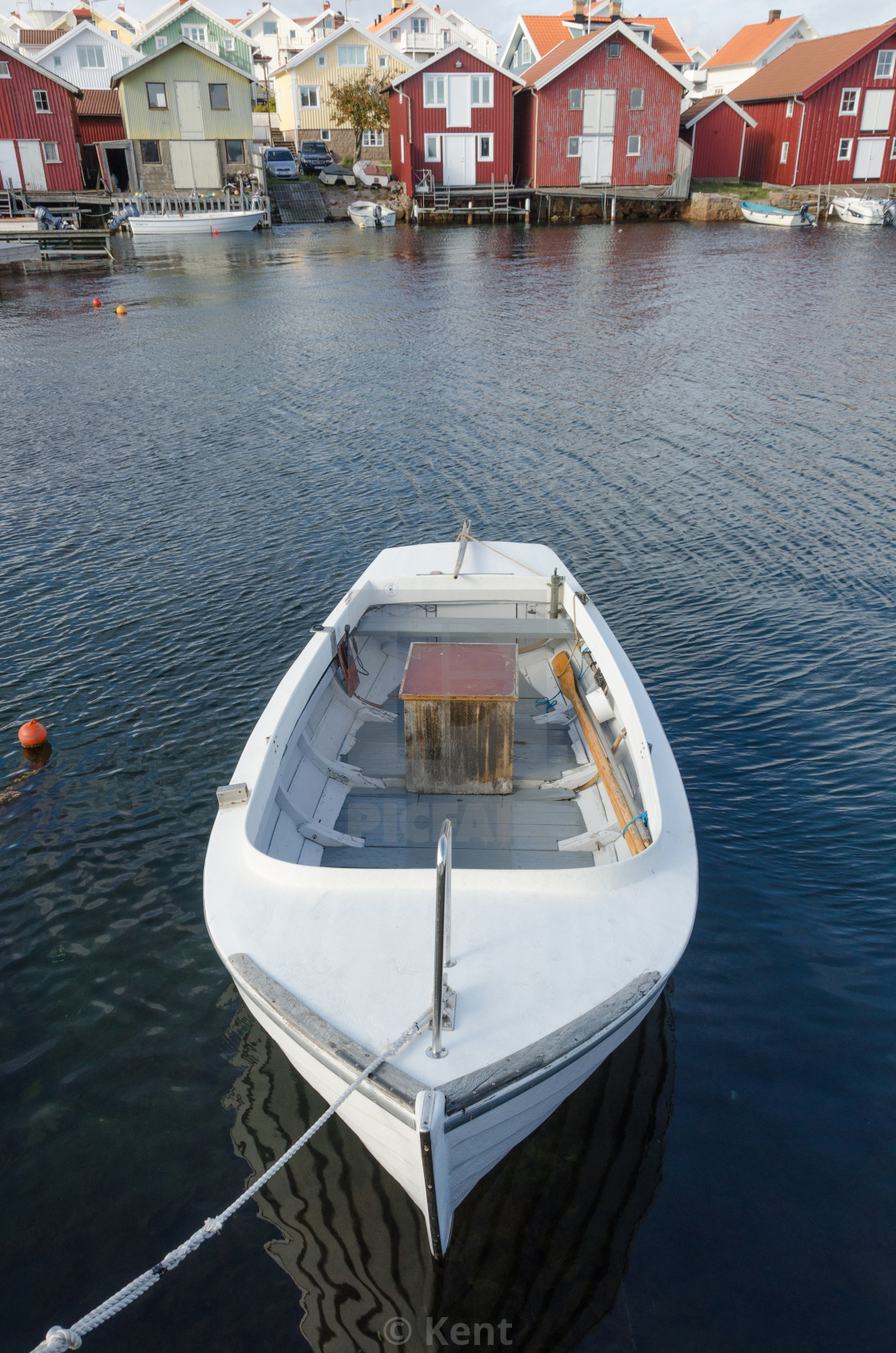 """""""one little boat in the harbour"""" stock image"""