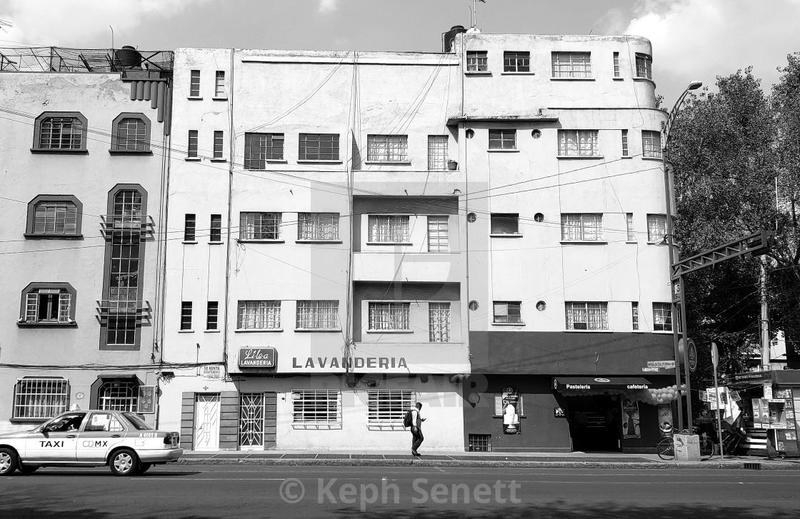 """Street scene with Art Deco buildings, Roma Sur, Mexico City"" stock image"