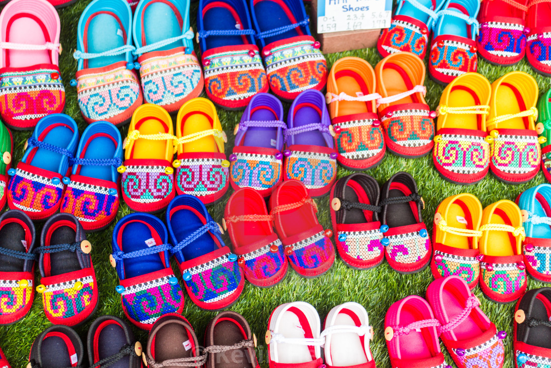 """""""Thai Hilltribe shoes for sale"""" stock image"""