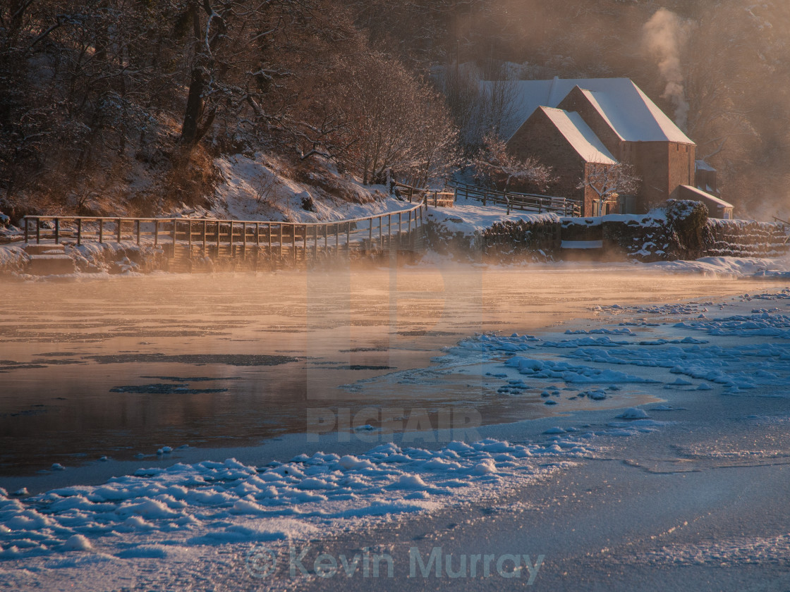 """Icy River Tweed At Mertoun Mill"" stock image"