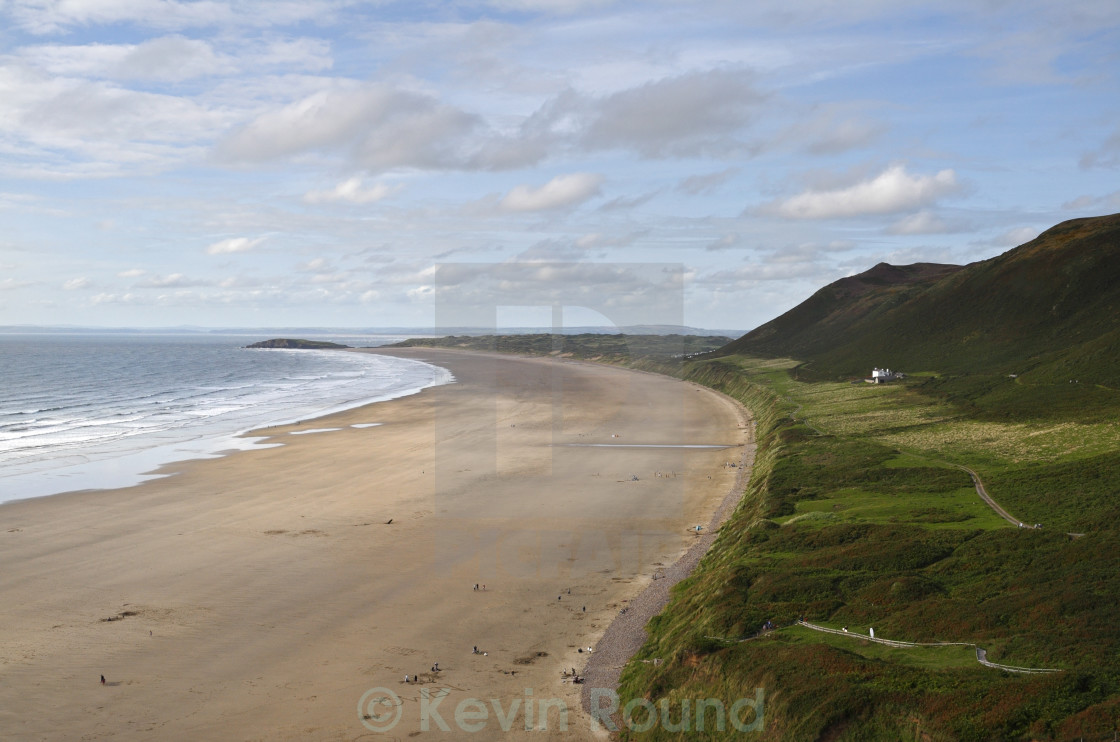 """Rhossili Beach on the Gower peninsula in Wales."" stock image"