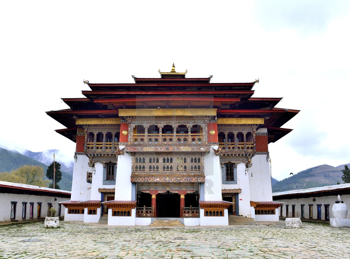 """Main hall of Gangtey Monastery, Bhutan"" stock image"