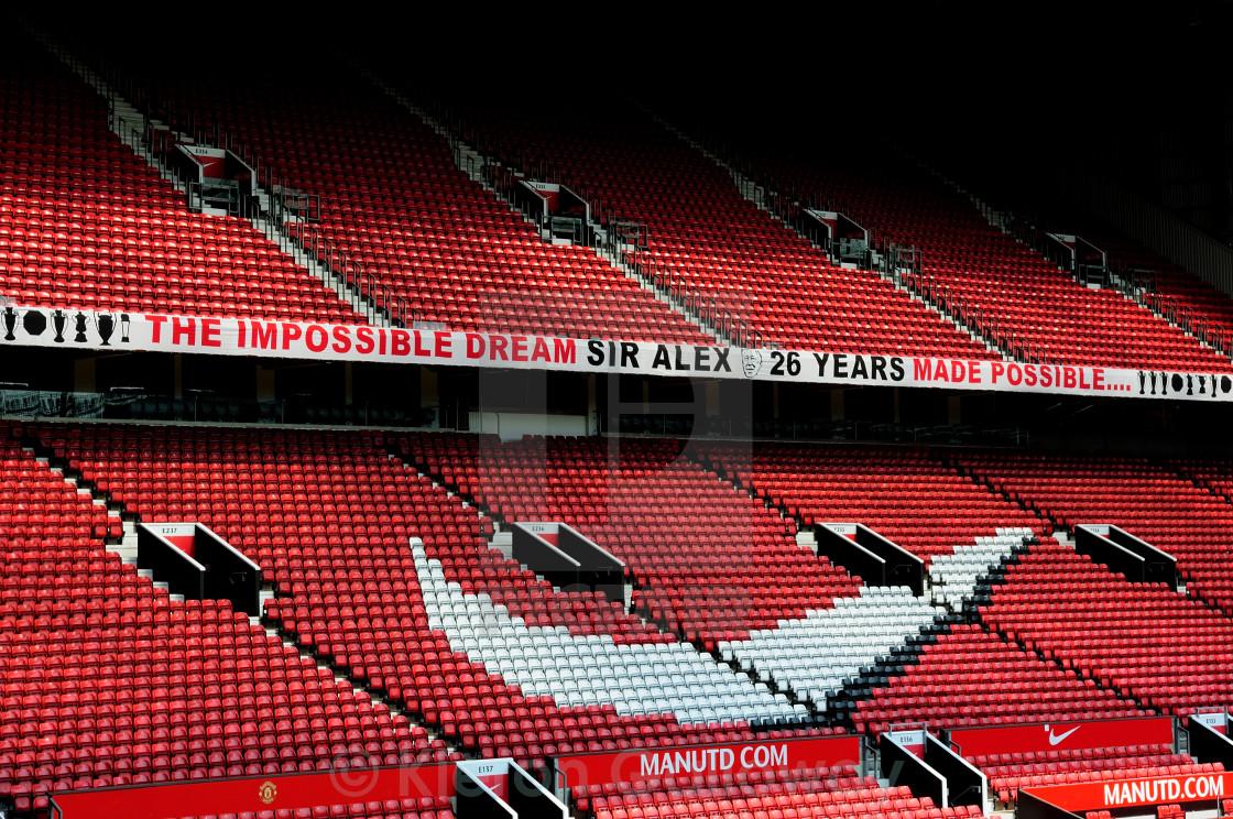 """""""Old Trafford Sir Alex Ferguson banner"""" stock image"""