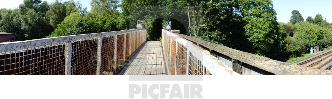 """Train bridge panorama Hampshire, UK"" stock image"