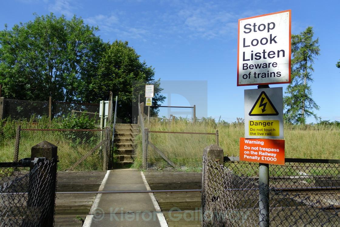 """""""Stop, look, listen - Beware of trains #1"""" stock image"""