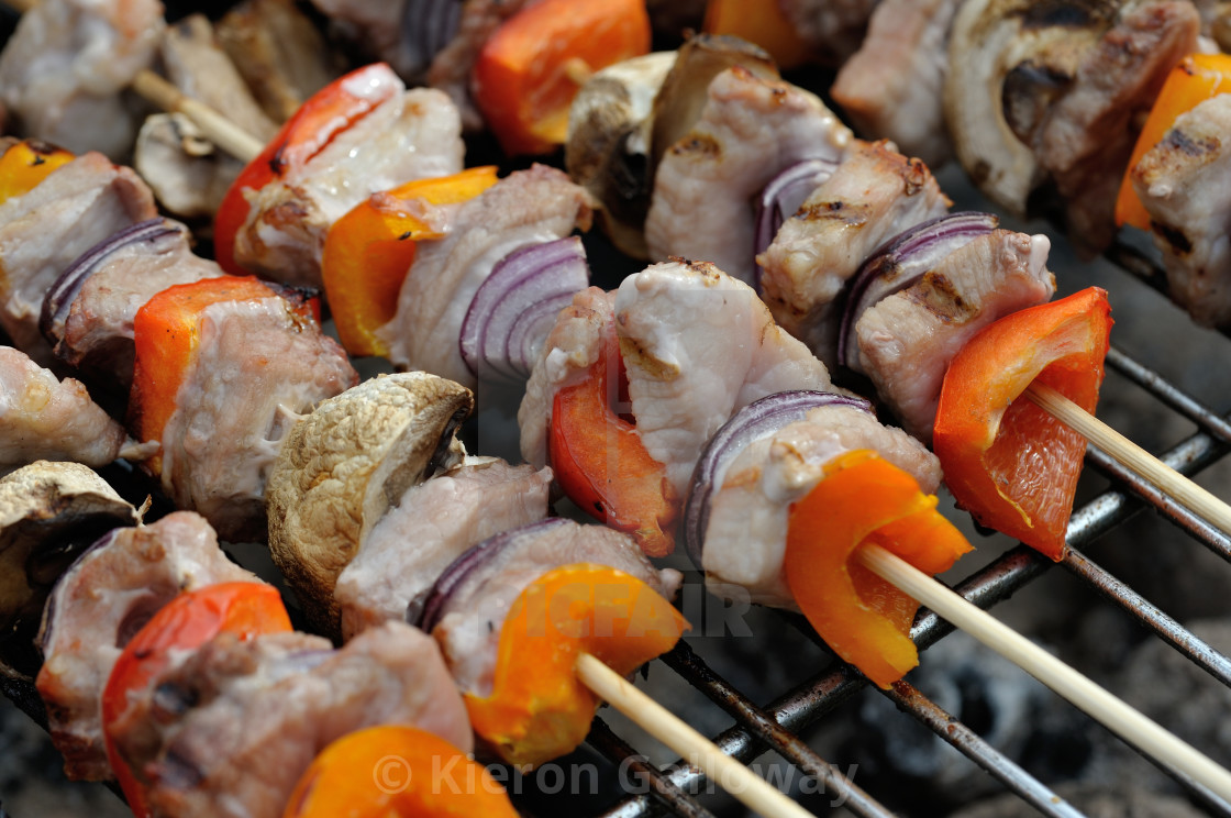 """BBQ mixed meat kebab macro #4"" stock image"