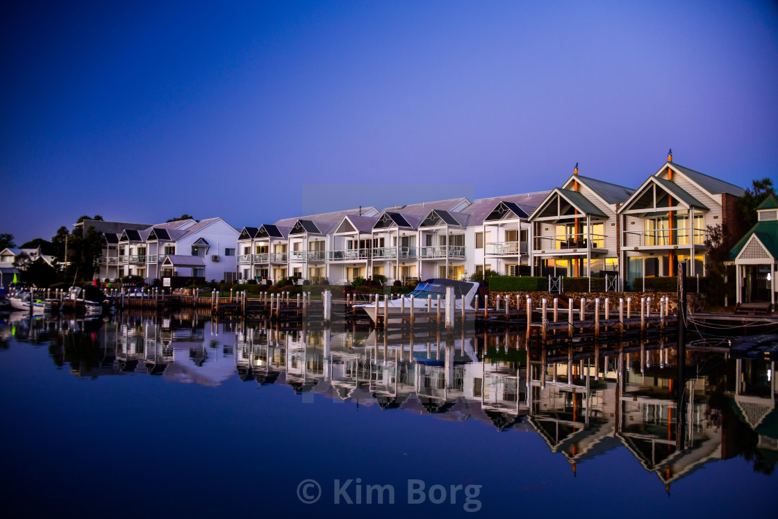 """The Moorings at Metung"" stock image"